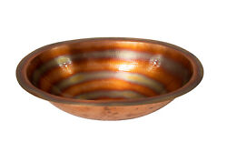 19 Oval Hammered Copper Bathroom Sink W/ Fire Finish And Flat Lip
