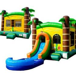 Inflatable Bounce House Combo Tropical Island Wet Dry Slide Pool With 2 Blowers