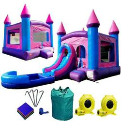 Inflatable Bounce House Combo Pink Blue Wet Dry Slide With Pool 100 Vinyl