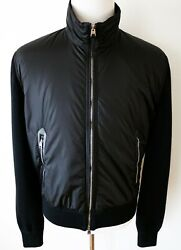 Tom Ford Black Wool Padded With Lamb Leather Trim Bomber Jacket 54 Euro Large