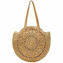 Straw Bags Beach For Women Large Round Wicker Tote Pompom Shoulder Summer Purse $33.91