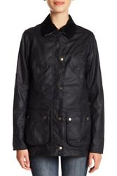 Barbour 'iona' Navy Vent Waxed Cotton Jacket Size Us 8 Coat