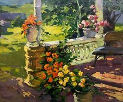 Anatoliy Tolick Front Porch Original Framed Oil Painting On Canvas