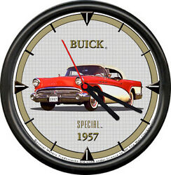 Licensed Gm 1957 Buick Special Red White Convertible Dealer Sign Wall Clock