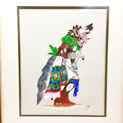 1940's Hopi Kachina Cow Dancer Painting Lawrence Outah Native American Indian