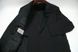 919 Canali 14712 /48 Solid Black One Button Tuxedo Size 42 Short