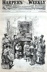 Punch And Judy Puppets 1887 Theater Puppet Show Children Antique Matted Print