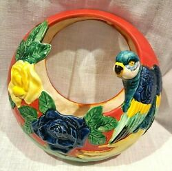Parrot Macaw Planter Occupied Japan Blue Red Ylw Green Round Flowers Ceramic