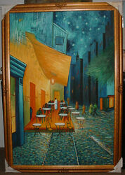 Van Gogh Cafeterrace At Night 4.5ft X 6.5ft Framed In Oil