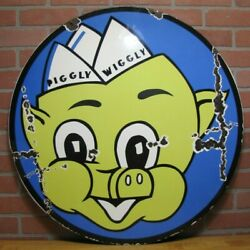 Piggly Wiggly Porcelain Sign 30 Double Sided Grocery Store Supermarket Gas Ad