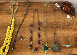 Lucky Brand Fossil And Hollister Necklaces Lot And Bracelet Super Cute $39.99