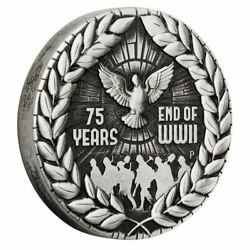Australia 2020 2 End Of Wwii 75th Anniversary 2oz Antique Silver 1943 Made