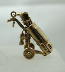 1960and039s Suberb Detail 9 Carat Rose Gold Large Golf Trolley Charm / Pendant