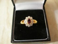 18 Carat Gold Ruby And Diamond Set Cluster Ring Made In England Brand New In Box