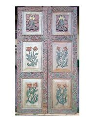Vintage Thailand Hand Carved Teak Wood Double Doors With Buddha And Flower Panels