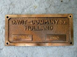 Vintage 1980 Davit- Company Bv Holland Industrial Machinery Brass Plaque Sign
