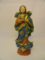 Antique 18th C Carved Wooden Statue Madonna Holy Mary Glass Eyes And Polychrome E6