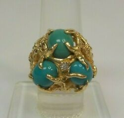 Estate 14 K Gold Birdand039s Nest Ring Persian Turquoise And Diamond Size 6.75