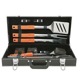 Outdoor Bbq Barbecue Grill Utensils Tool Set Attache Case Soft Handles 20 Pieces