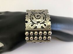 Heavy Vintage 1940's Mexico Sterling Silver Aztec Design Marked Mbr Los Unicos