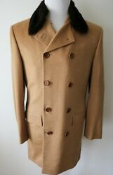 KITON Vicuna Cashmere Mink Fur Double Breasted Coat Overcoat Size 50 Euro 40 US