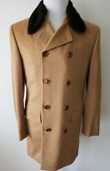 KITON Vicuna Cashmere Mink Fur Double Breasted Coat Overcoat Size 54 Euro 44 US