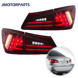 Pair Of Red Clear Led Tail Lights Rear Lamp For 2006-2012 Lexus Is 250 Is 350