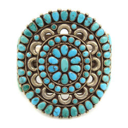 Zuni Turquoise Cluster And Silver Bracelet C. 1950s Size 7