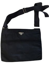 AUTH PRADA BLACK MESSENGER BAG USED and in FAIR CONDITION $199.00