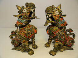 Vintage Gild Filagree Fu Foo Dog Lion W/ Coral And Turquoise Inlay Ze4-6
