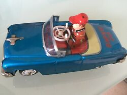 Vintage Japan Tinplate Wind Up Bump And Go Toy Car, Good But Play Worn Condition