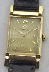 Vintage Omega Solid Gold Rectangular Case Driver Watch Swivel Lugs Prof. Srvc'd