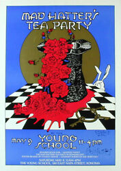 Stanley Mouse _ Rare Mad Hatterand039s Tea Party Poster 1992 - Young School Sonoma Ca