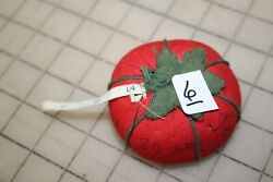 6 Vtg New Tomato Strawberry Sewing Pin Cushion 2.5 Diameter With Tape Measure