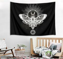 Creative Sketch Butterfly Moon Black Tapestry Wall Hanging Living Room Bedroom
