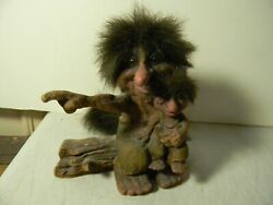 VINTAGE TROLL DOLL NORWEGIAN HOBO DOUBLE SEATED TAILED TROLL W BOOKLET NORWAY $35.00