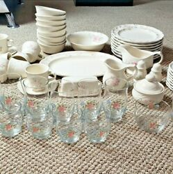 Set Of 64 Pfaltzgraff Tea Rose Mint Condition Vintage Retired Very Rare And Unique