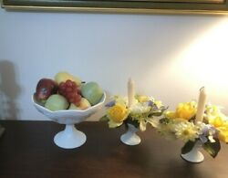 Vintage Set Of White Milk Glass Fruit Bowl On Pedestal With 2 Candle Holders