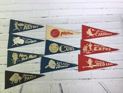 Vintage Baseball Pennant Flag Lot Astros Dodgers Mets Phillies Cubs Braves Expos