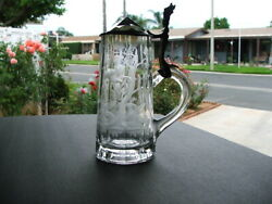 RARE AMERICAN BRILLIANT ABP Intaglio Gravic Glass BEER STEIN Hand Carved