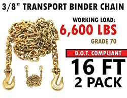 2 Pack - 3/8and039and039 X 16and039 Binder Grade 70 Transport Chain Cargo Clevis Grab Hooks