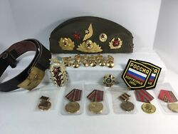 Lot Of Russian Military Memorabilia Hat Medals Patches Military Buttons Etc