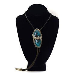 Wylie White Cloud - Navajo Bisbee Turquoise And Silver Bolo Tie, 3.25 X 1.25