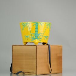 Vintage Japanese Jardiniere Planter With Green Yellow Bamboo Decoration ...