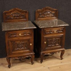 Pair of night stands furniture bedside tables in walnut wood antique style 900