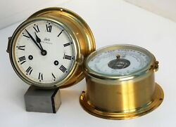 A Vintage Schatz Germany Ships Nautical Bell Clock And Barometer. Working