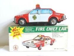 Vintage Tin Toy Battery Operated Fire Chief Car Made In Taiwan Mib Works 1970