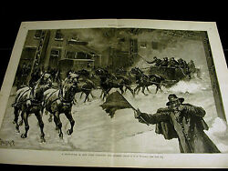 T. De Thulstrup Snow Storm In Nyc Horse And Wagon And Sleigh 1887 Large Folio Print