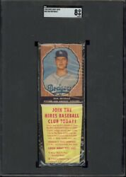 1958 Hires Root Beer Baseball With Tab 55 Don Drysdale Sgc 8