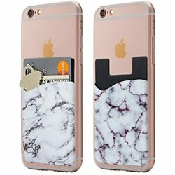 Marble Cell Phone Stick Wallet Card Holder Pocket For Iphone - White